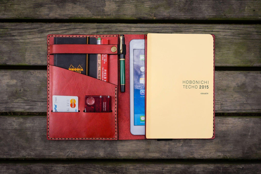 Leather Hobonichi Cousin A5 Planner Cover - Red-Galen Leather