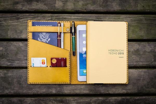 Leather Hobonichi Cousin A5 Planner Cover - Yellow-Galen Leather