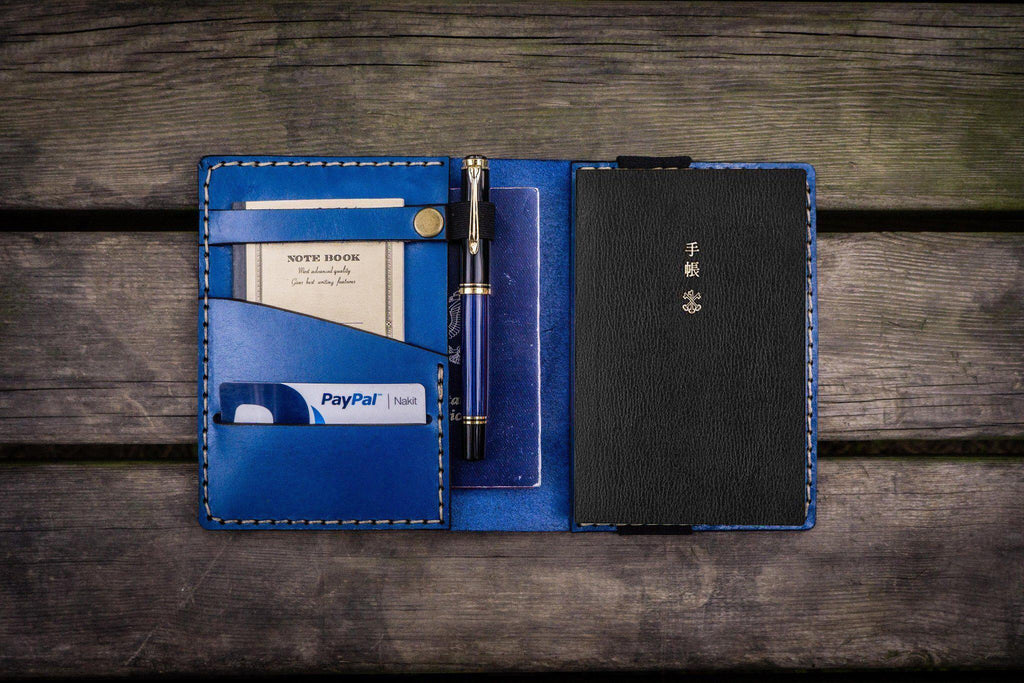 Leather Hobonichi Techo (A6) Planner Cover - Blue-Galen Leather