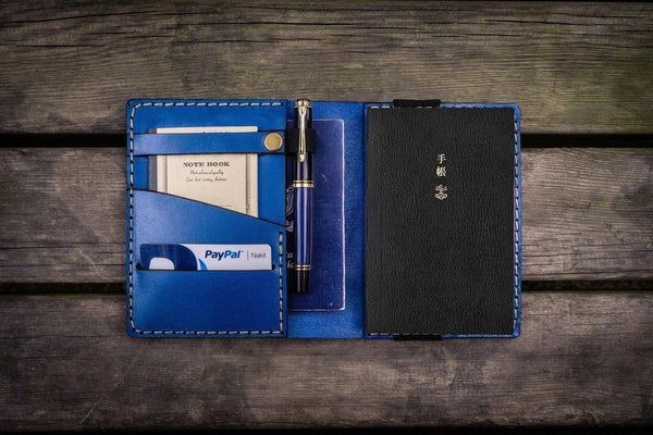 Leather Hobonichi Techo (A6) Planner Cover - Blue - GalenLeather - 1