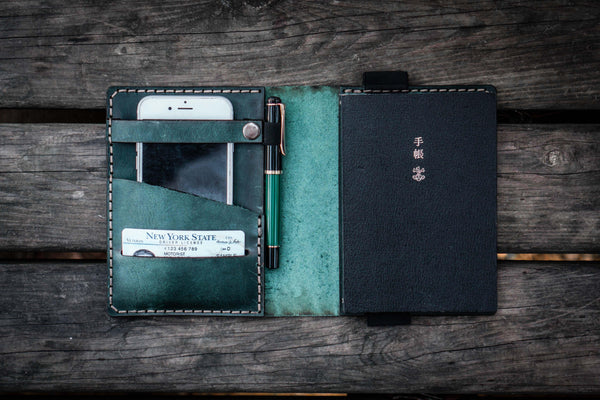 Leather Hobonichi Techo (A6) Planner Cover - Crazy Horse Forest Green
