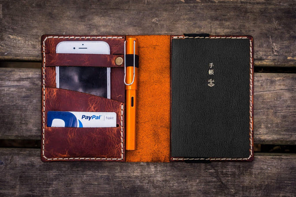Leather Hobonichi Techo (A6) Planner Cover - Crazy Horse Orange - GalenLeather - 1