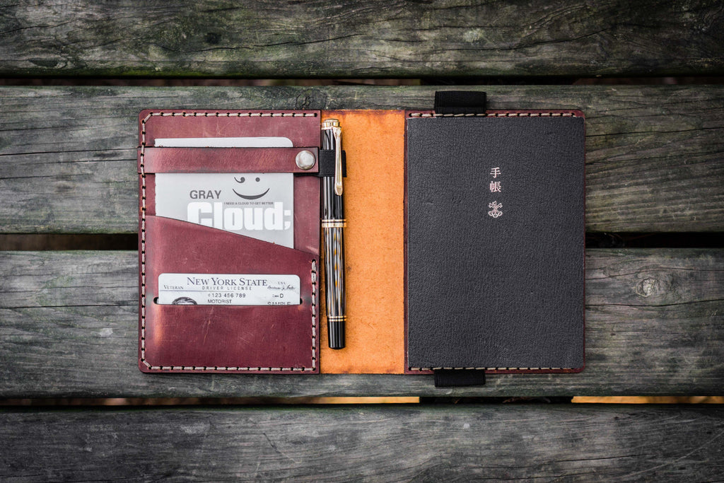 Leather Hobonichi Techo (A6) Planner Cover - Crazy Horse Tan-Galen Leather