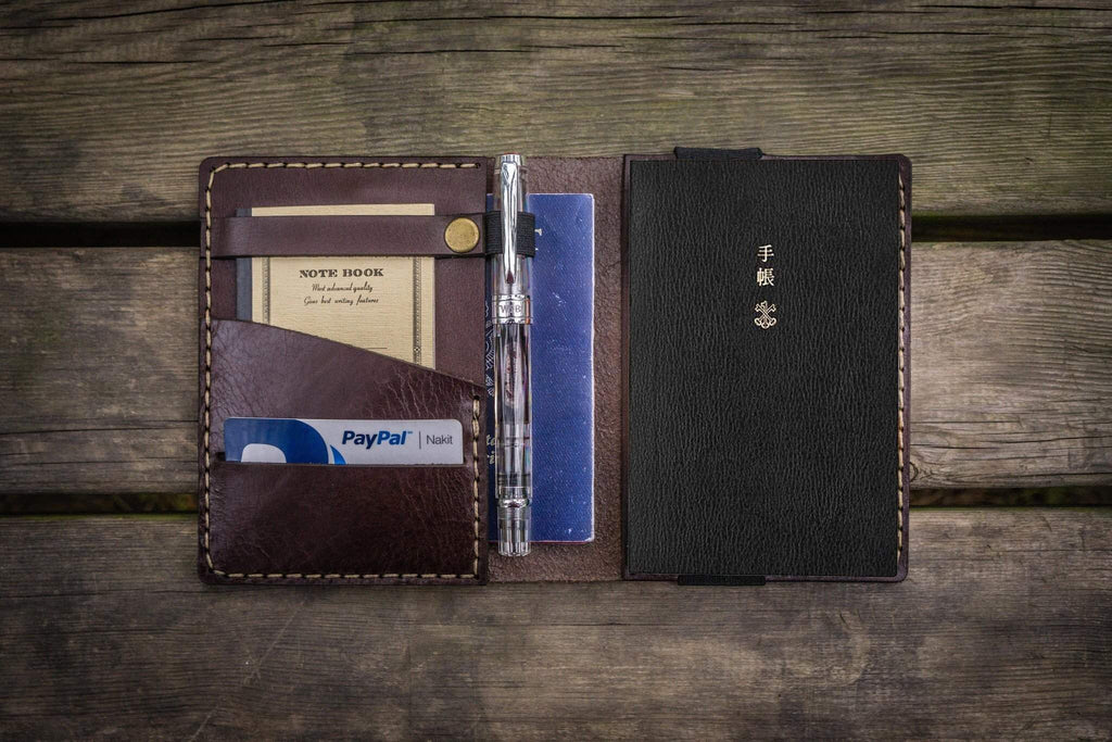 Leather Hobonichi Techo (A6) Planner Cover - Dark Brown-Galen Leather