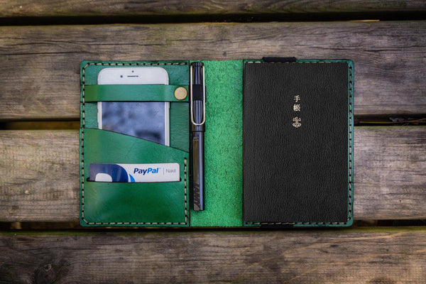 Leather Hobonichi Techo (A6) Planner Cover - Green-Galen Leather