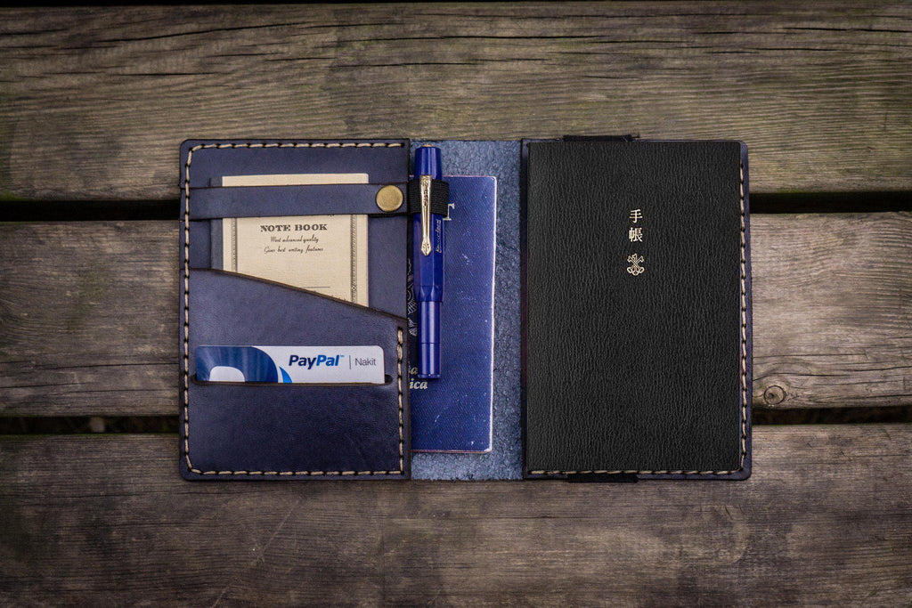 Leather Hobonichi Techo (A6) Planner Cover - Navy Blue-Galen Leather