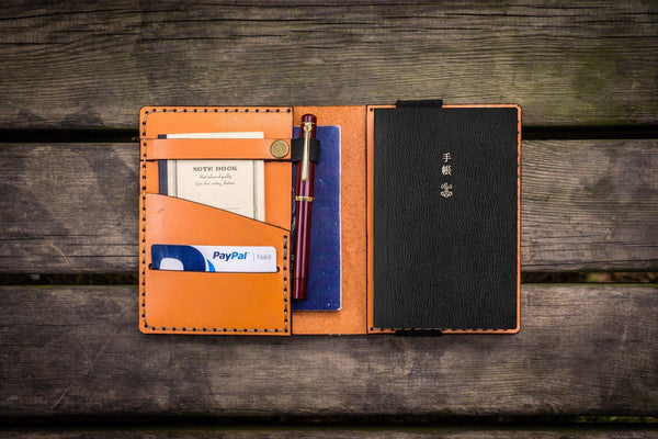 Leather Hobonichi Techo (A6) Planner Cover - Orange-Galen Leather