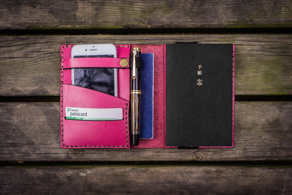 Leather Hobonichi Techo (A6) Planner Cover - Pink-Galen Leather