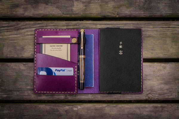 Leather Hobonichi Techo (A6) Planner Cover - Purple-Galen Leather