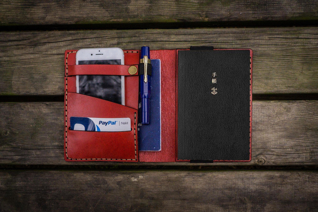 Leather Hobonichi Techo (A6) Planner Cover - Red-Galen Leather
