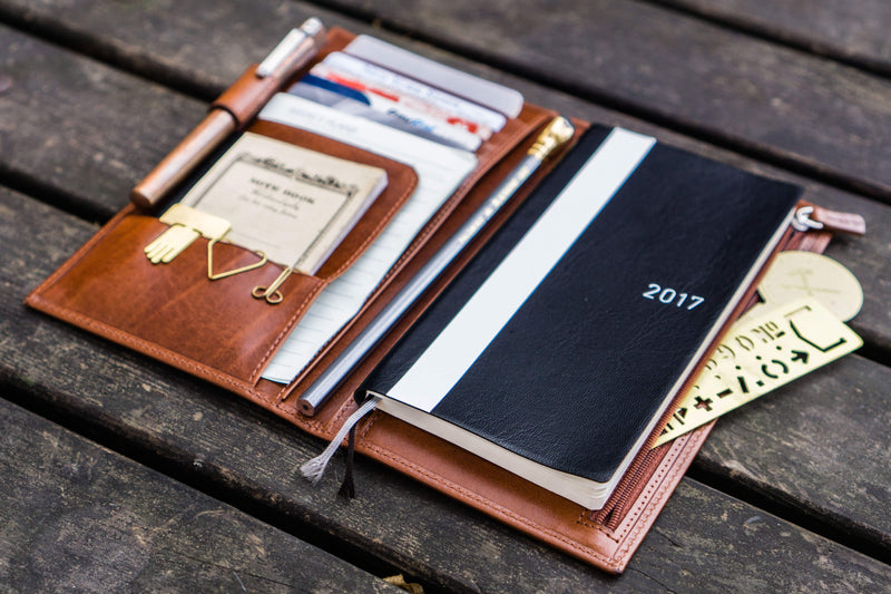 Leather Hobonichi Weeks Cover - Brown-Galen Leather