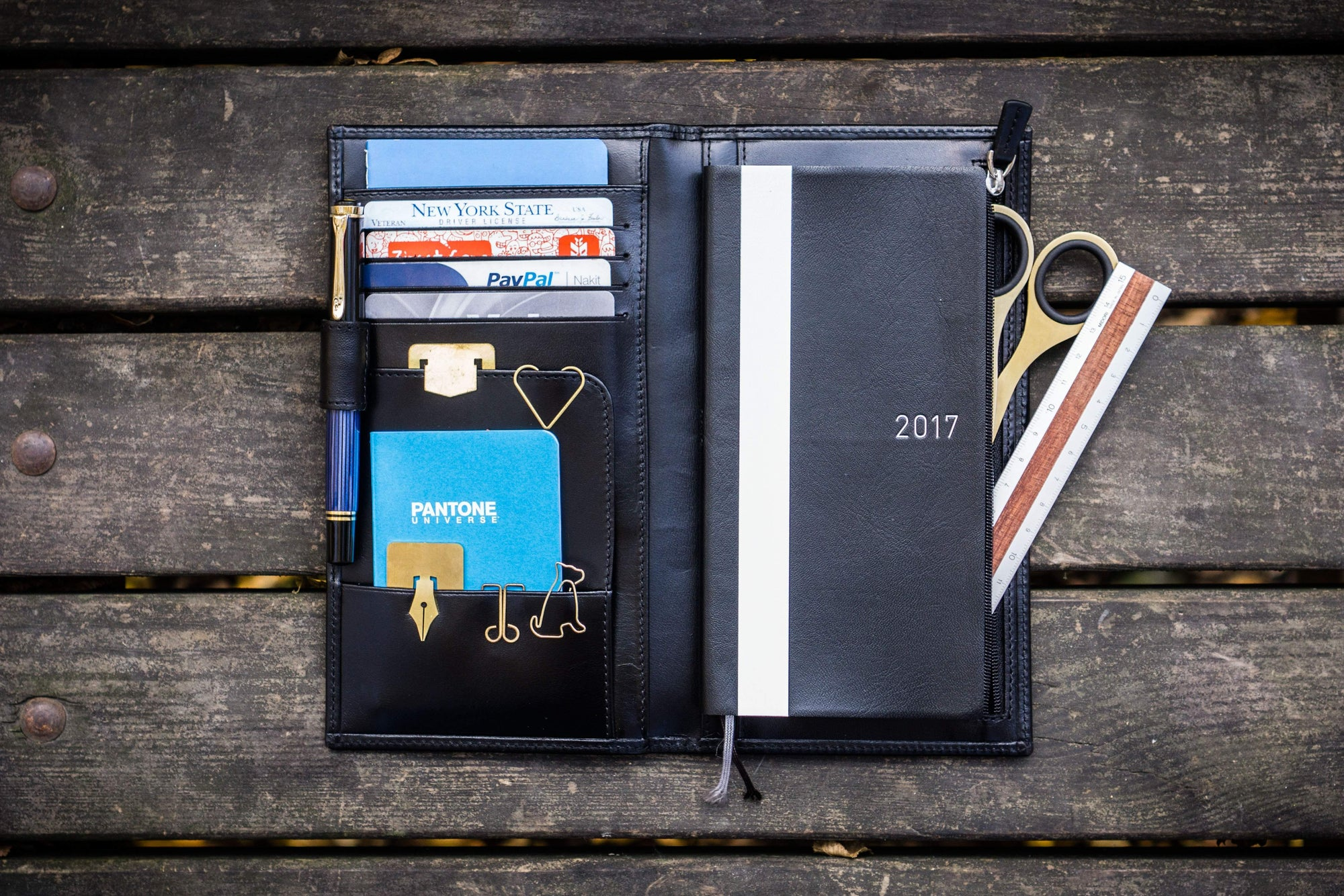 Leather Hobonichi Weeks Mega Cover - Black-Galen Leather
