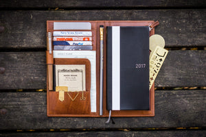 Leather Hobonichi Weeks Mega Cover - Brown-Galen Leather