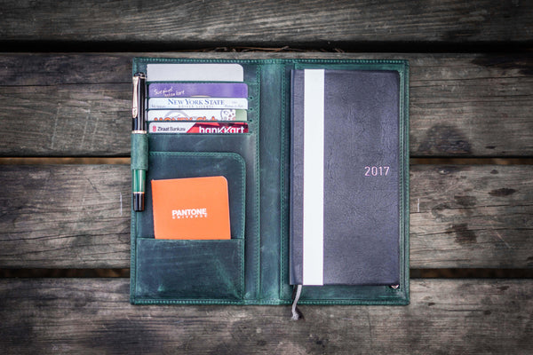 Leather Hobonichi Weeks Mega Cover - Crazy Forest Green-Galen Leather