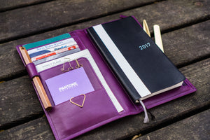 Leather Hobonichi Weeks Mega Cover - Purple-Galen Leather