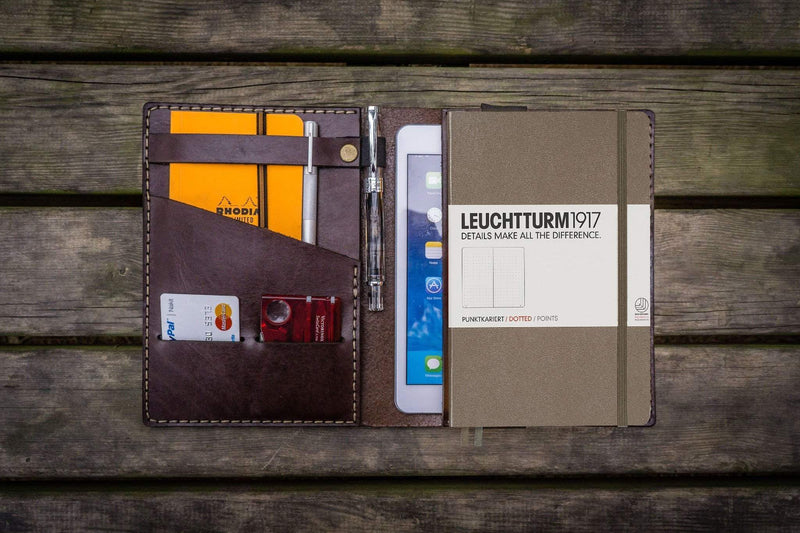 Leather Journal Cover for Leuchtturm1917 A5 Notebook - Dark Brown-Galen Leather