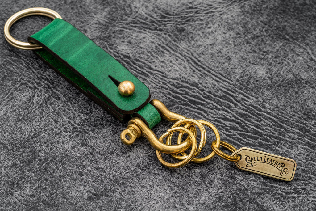 Leather Key Fob - California Green - Galen Leather