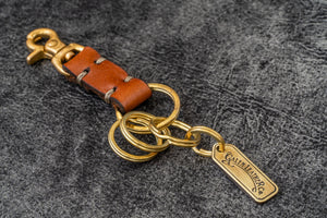 Leather Key Ring - New York-Brown