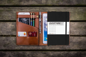 Leather Leuchtturm1917 A5 Notebook Cover - Brown - Bullet Journal Cover-Galen Leather