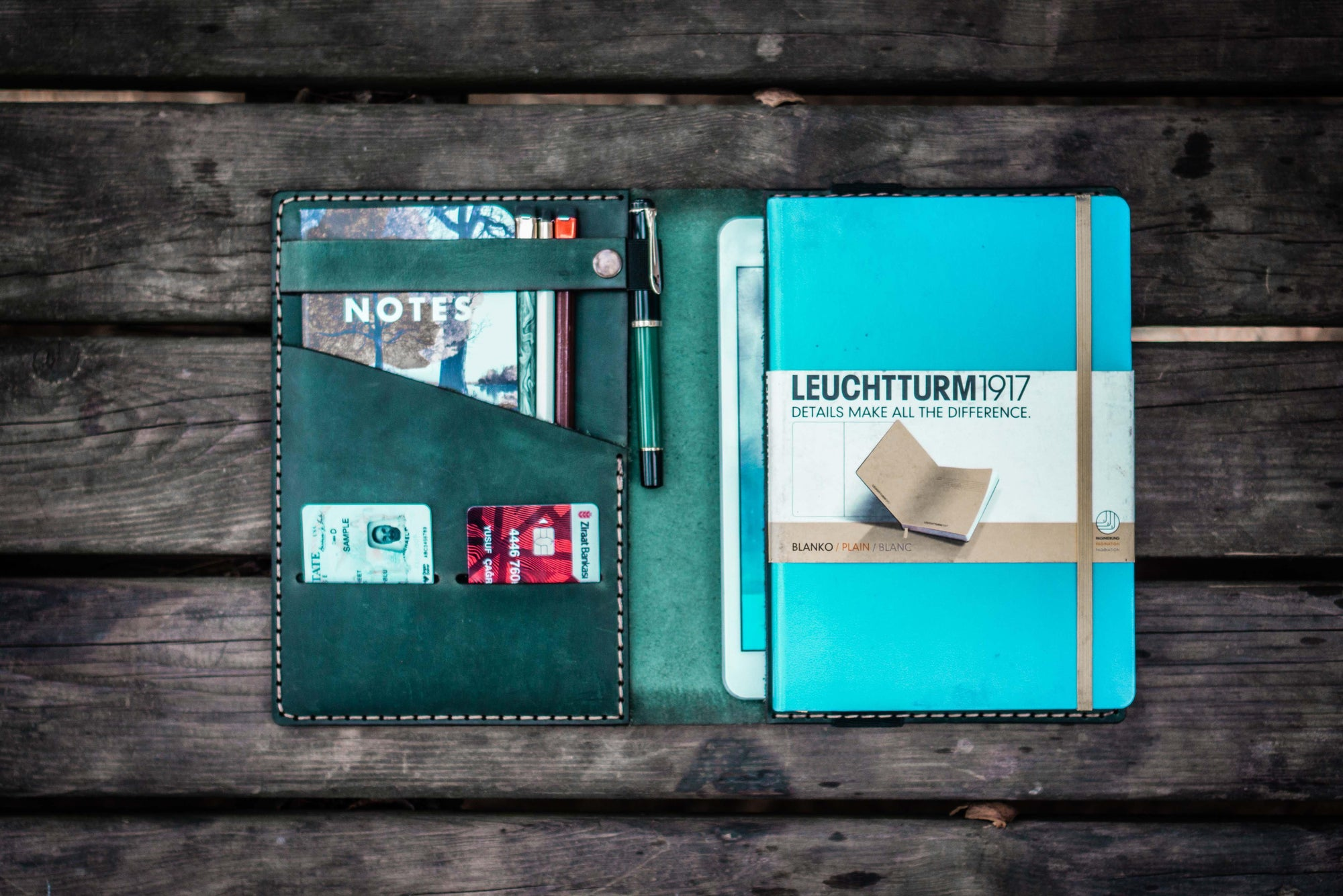 Leather Leuchtturm1917 A5 Notebook Cover - Crazy Horse Forest Green-Galen Leather