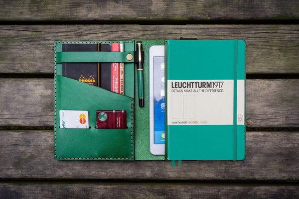 Leather Leuchtturm1917 A5 Notebook Cover - Green-Galen Leather