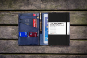 Leather Leuchtturm1917 A5 Notebook Cover - Navy Blue-Galen Leather
