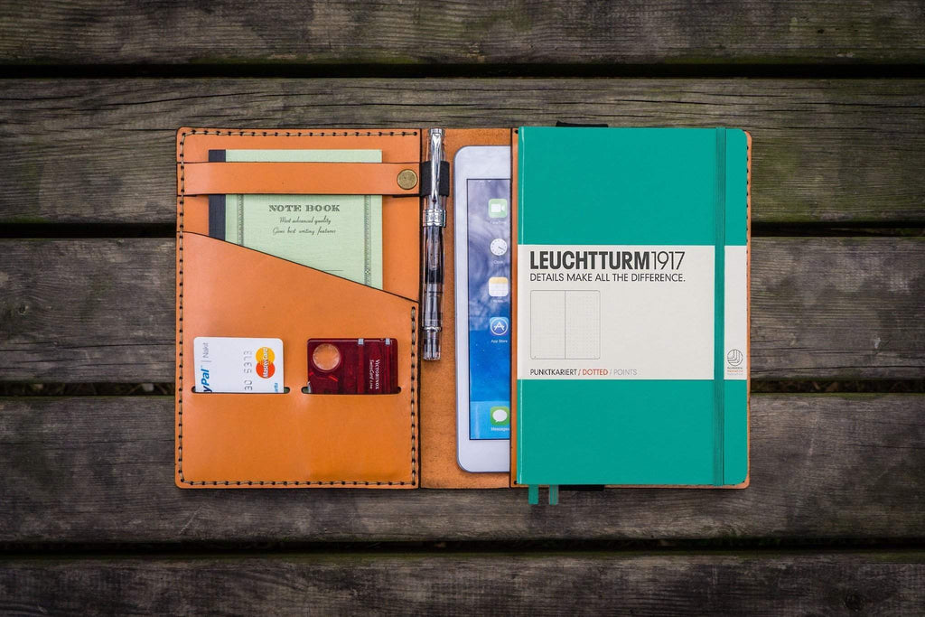 Leather Leuchtturm1917 A5 Notebook Cover - Orange-Galen Leather