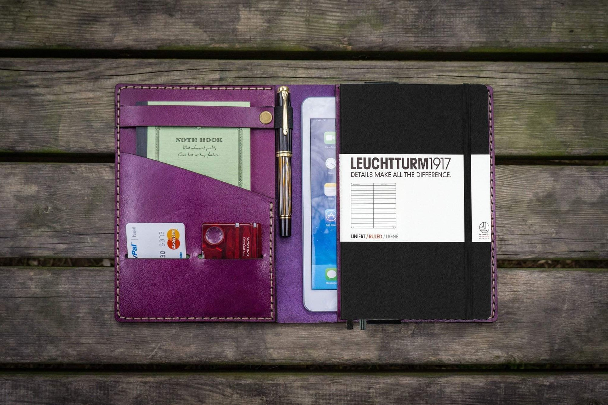 Leather Leuchtturm1917 A5 Notebook Cover - Purple-Galen Leather
