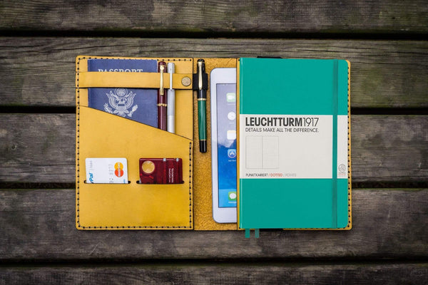 Leather Leuchtturm1917 A5 Notebook Cover - Yellow-Galen Leather