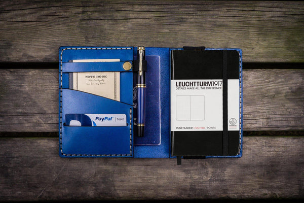 Leather Leuchtturm1917 A6 Notebook Cover - Blue - GalenLeather - 1