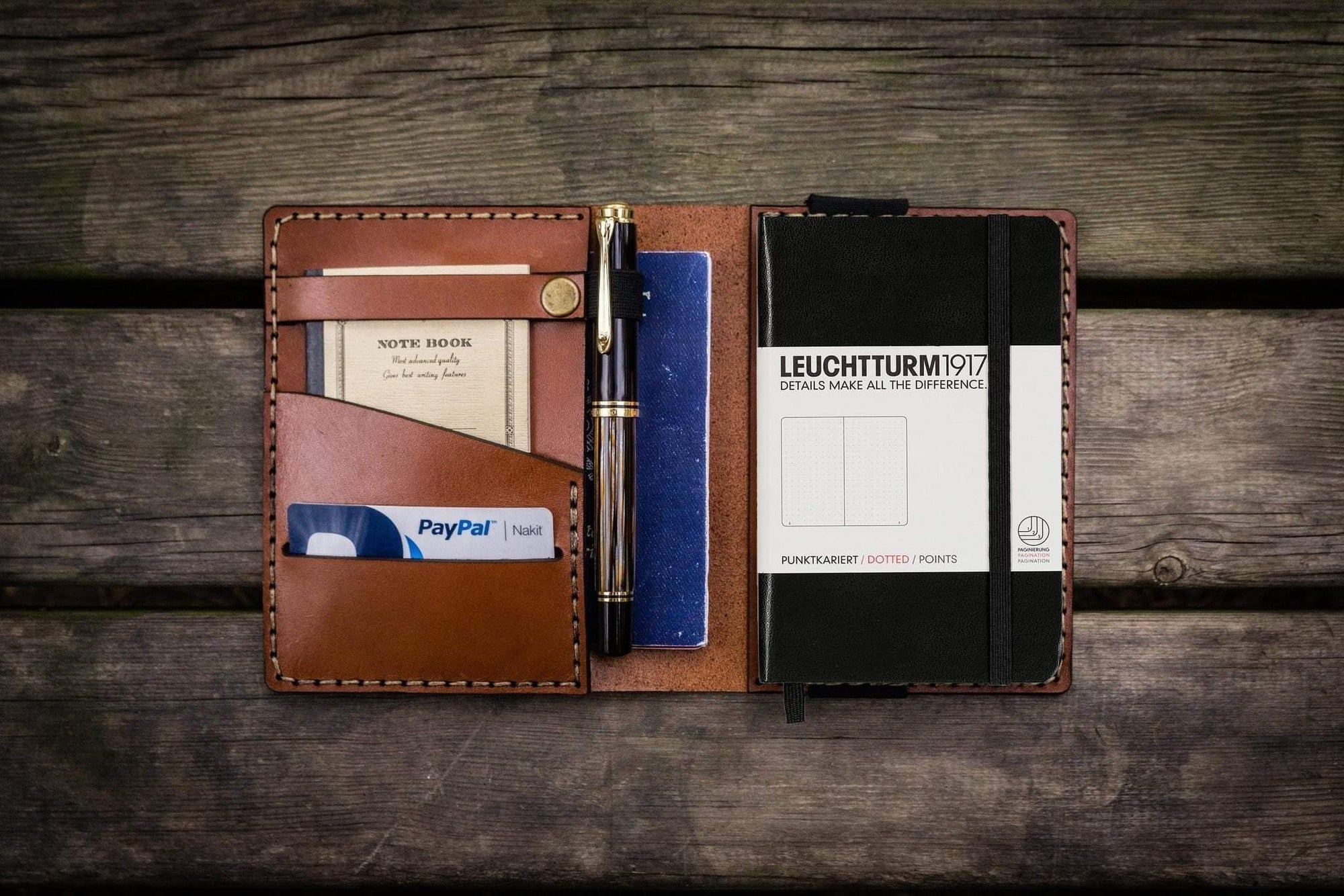 Leather Leuchtturm1917 A6 Notebook Cover - Brown-Galen Leather