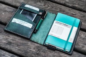 Leather Leuchtturm1917 A6 Notebook Cover - Crazy Horse Forest Green-Galen Leather