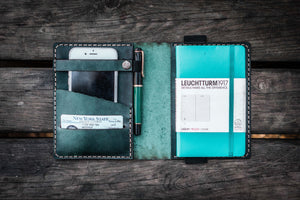Leather Leuchtturm1917 A6 Notebook Cover - Crazy Horse Forest Green