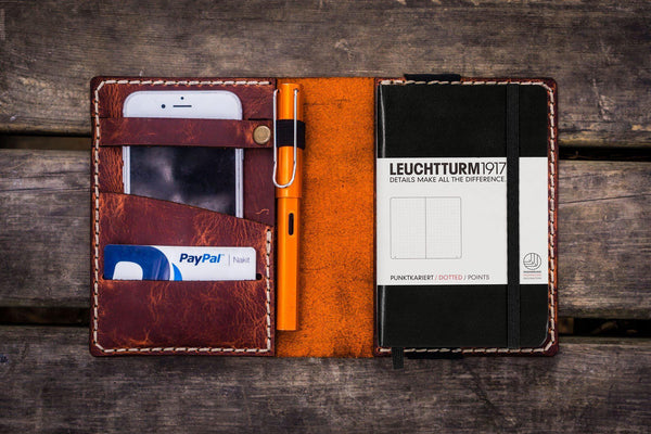 Leather Leuchtturm1917 A6 Notebook Cover - Crazy Horse Orange - GalenLeather - 1