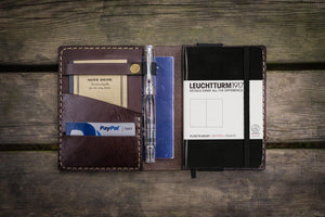 Leather Leuchtturm1917 A6 Notebook Cover - Dark Brown - GalenLeather - 1