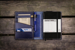 Leather Leuchtturm1917 A6 Notebook Cover - Navy Blue - GalenLeather - 1