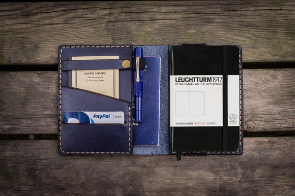 Leather Leuchtturm1917 A6 Notebook Cover - Navy Blue-Galen Leather