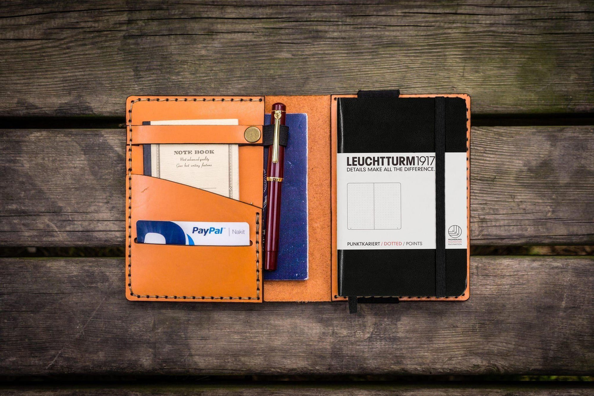 Leather Leuchtturm1917 A6 Notebook Cover - Orange-Galen Leather