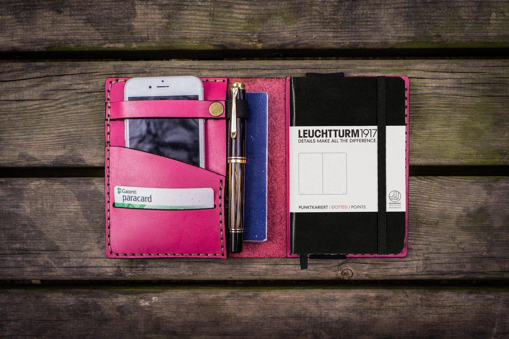 Leather Leuchtturm1917 A6 Notebook Cover - Pink-Galen Leather