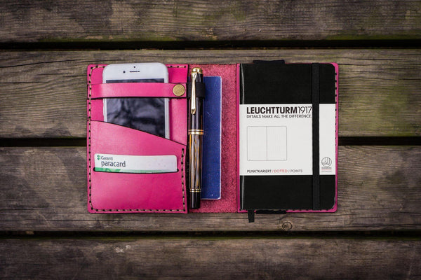 Leather Leuchtturm1917 A6 Notebook Cover - Pink - GalenLeather - 1