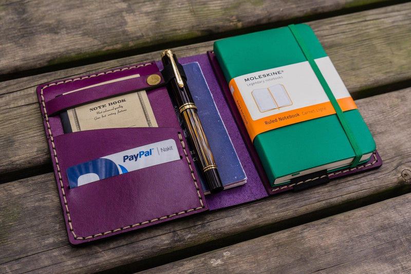 Leather Leuchtturm1917 A6 Notebook Cover - Purple-Galen Leather