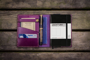 Leather Leuchtturm1917 A6 Notebook Cover - Purple - GalenLeather - 1