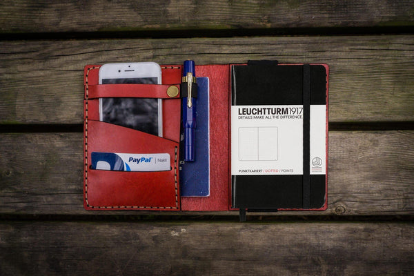 Leather Leuchtturm1917 A6 Notebook Cover - Red - GalenLeather - 1