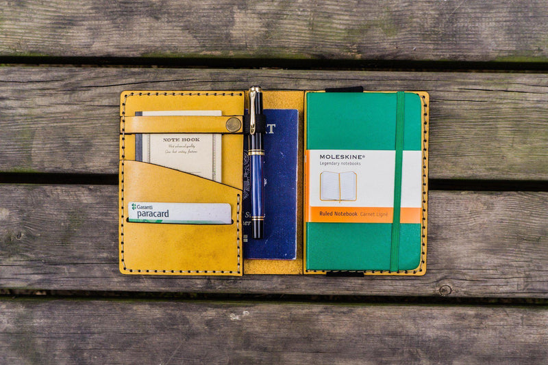 Leather Leuchtturm1917 A6 Notebook Cover - Yellow-Galen Leather