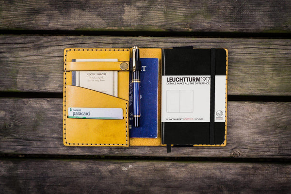 Leather Leuchtturm1917 A6 Notebook Cover - Yellow - GalenLeather - 1