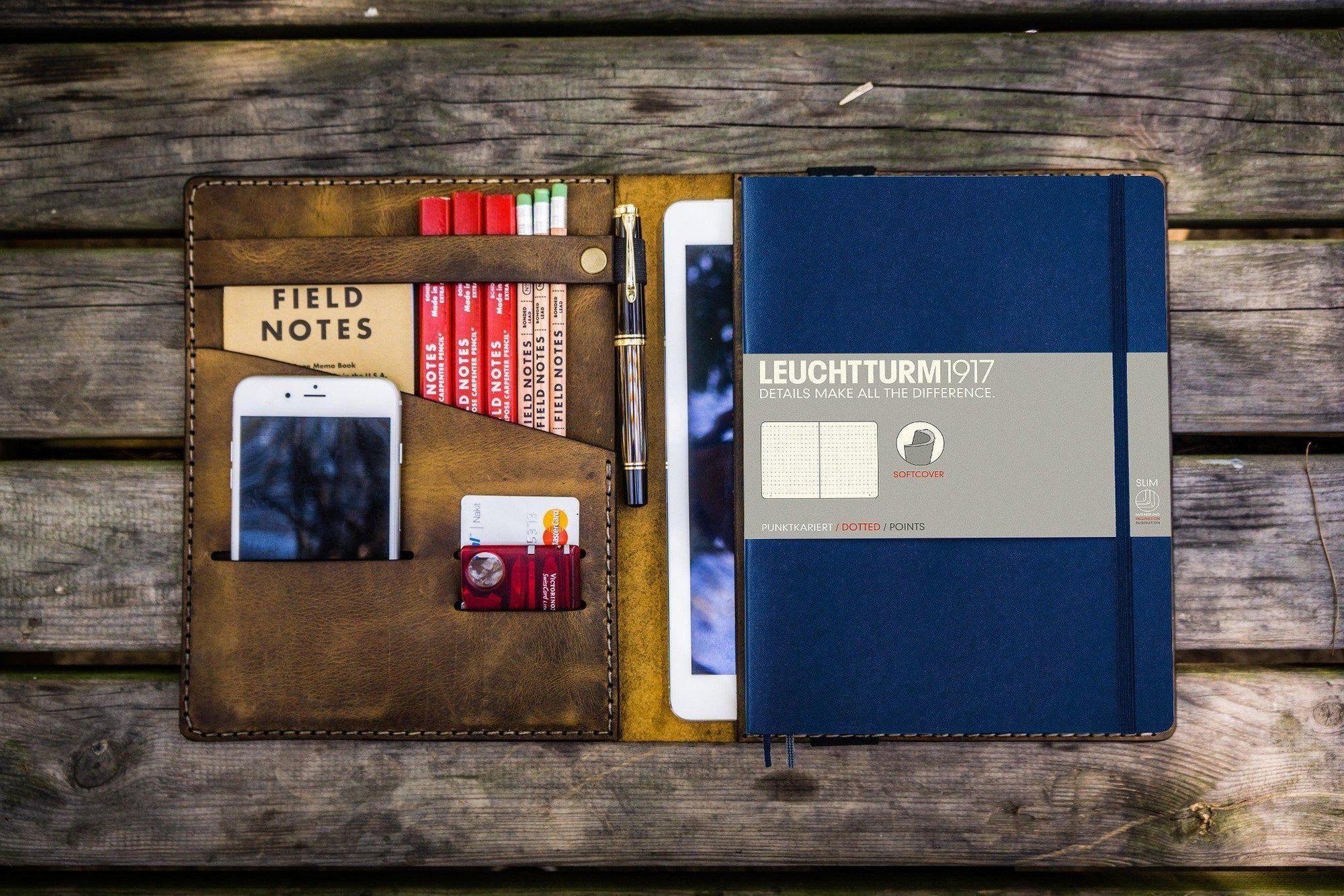 Leather Leuchtturm1917 B5 Notebook & iPad Air/Pro Cover - Crazy Horse Leather-Galen Leather