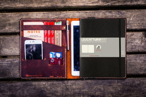 Leather Leuchtturm1917 B5 Notebook & iPad Air/Pro Cover - Crazy Horse Orange-Galen Leather