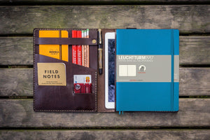 Leather Leuchtturm1917 B5 Notebook & iPad Air/Pro Cover - Dark Brown-Galen Leather