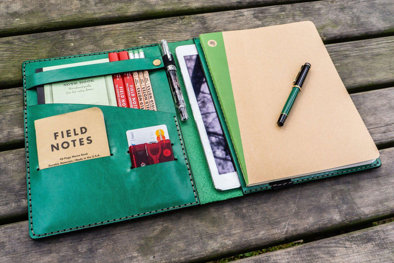 Leather Leuchtturm1917 B5 Notebook & iPad Air/Pro Cover - Green-Galen Leather