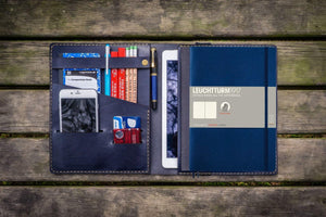 Leather Leuchtturm1917 B5 Notebook & iPad Air/Pro Cover - Navy Blue-Galen Leather